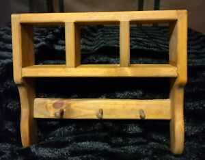 Solid-Wood Wall Shelf with 3 Shadowboxes/Storage AND 3 Wood Hooks