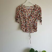 Faithfull The Brand Lucy Floral Wrap Top 8 S Rayon Tie-Sleeves Cream Burgundy
