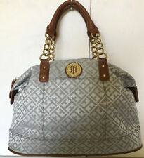 NEW! TOMMY HILFIGER OFF-WHITE GRAY GOLD CHAIN BOWLER SATCHEL TOTE BAG $85 SALE