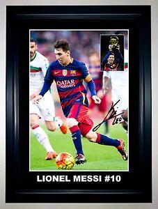 Lionel Messi Barcelona Soccer A3 Framed Signed Photo Collage Ballon d'or 2016