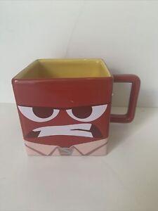 Disney Store Exclusive 2015 Inside Out ANGER Mug Red Ceramic Rare Square (480)