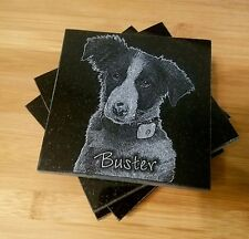 Engraved Drink Coaster set of 4 Granite Coasters Engraved Photo FREE SH Dog Cat