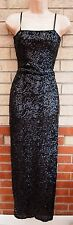 COTTON CLUB BLACK SEQUIN SEQUINS STRAPPY LONG PARTY EVENING MAXI DRESS 10 S