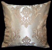 HC302a Tan Pale Tan Gold Floral Damask Jacquard Cushion Cover/Pillow Case