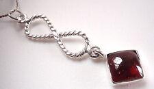 Garnet Pendant 925 Sterling Silver Infinity Hoop Symbolizes Forever Love New