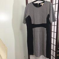 Black, white Michael Kors herringbone dress | Size 16