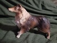 Vintage Collie Dog Figurine Porcelain Made in Japan 3 circle stem Mark Also