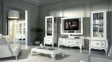 Mobile Porta TV Barocco Parete Living Bombata Legno