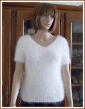 Pull Manches Courtes Angora Prestige ANNY BLATT Coloris Blanc, Taille 38/40