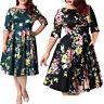 HOT 2XL-9XL Big Size Women Vintage 50s Retro Rockabilly Pinup Party Swing Dress