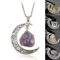 Natural Quartz Moon Healing Chakra Stone Pendant Necklace Charm Jewelry Gift