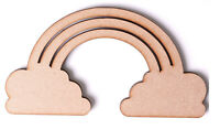 Wooden MDF Rainbow Clouds Shapes Baby Nursery Craft Weather Shapes Memory Box