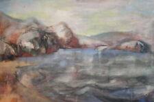 Vintage watercolor drawing lake landscape signed
