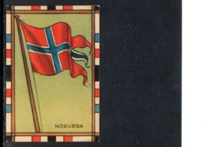 VERY EARLY NORWAY  FLAG CIGARETTE CARD, NATIONAL FLAG OF NORWAY, SCARCE CARD
