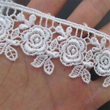 1 yd Rose Vintage Embroidered Lace Trim Ribbon Wedding Applique DIY Sewing Craft