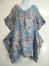 PLUS SIZE LAGENLOOK 100% LINEN FLORAL BAGGY TOP 10 COLOURS FITS SIZES 20-24