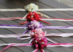 Wedding Bridal Bridesmaid Wrist Corsage Hand Rose Ribbon Flowers Delicate