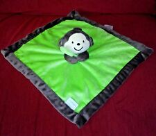 Carter's MONKEY Security Blanket Lime Green with Brown  Trim Plush Lovey