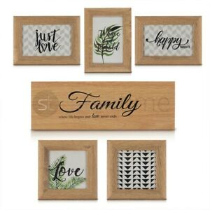 6 Oak Photo Frame Family Plaque Friends Party Wall Mounted Picture Album Frames