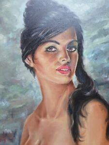OIL ON CANVAS PORTRAIT MYSTERIOUS GIRL  MONOGRAMMED KG  FREE SHIPPING TO ENGLAND