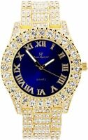 Men Fully Ice Watch Bling Rapper Lab Simulate Diamond Gold Blue Band Luxury Rich