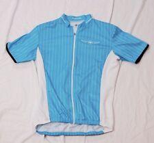 Descente women's cycling jersey blue striped short sleeve L full zipper