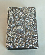 "BEAUTIFUL VINTAGE S. KIRK & SON ""REPOUSSE"" STERLING SILVER MATCH BOX COVER #90F"
