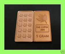Lingot 5 Grammes Cuivre CANADA Fine Copper .999 Maple Leaf