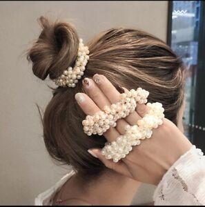 Woman Big Pearl Hair Ties Fashion Korean Style Hairband Scrunchies Girls Ponytai