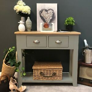 Grey Oak Console Table / Painted Solid Wood Hallway Table / Brand New / Grateley