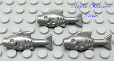NEW Lego Lot/3 Medium GRAY FISH Minifig Animal -Friends Pearl Silver Pirate Food