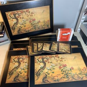 8 Pimpernel Japanese Screen Lake Scene Backed Placemats Made In England