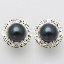 14k Solid White Gold Greek Key Black Pearl Earrings #E846