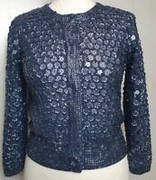 Boden Limited Edition (UK Size 8) Rare Blue Silver Silk & Sequin Jacket Blazer