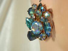 Beaujewels Signed Super Showy Vintage Aurora Rhinestone Earrings  355JL4