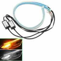 "2X60cm 24"" Car Auto  Flexible Turn Signal Strip Light LED Running Flashing DRL"