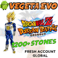 🌟 Android - Dokkan Battle - Vegeta EVO with 1200+ Dragon Stones - GLOBAL FRESH