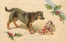 Embossed Christmas Postcard 761-1 Maguire Black & Tan Terrier Dog Japanese Doll