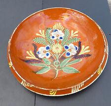 Colourful Floral Antique Redware Shallow Bowl / Dish - Slip and Glaze Decoration