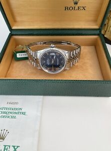 Rolex DateJust 16220 Blue Dial Stainless Steel 1996 Box & Papers