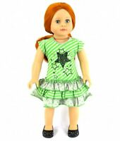 "Doll Clothes 18"" Dress Lime Grey Ruffle Fits American Girl Dolls"