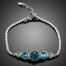 18K Gold GP Made With Swarovski Crystal Elements Blue Frozen Bangle Bracelet