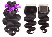 Brazilian VirginHuman Hair Body Wave Hair Weft 3 Bundles  With 4*4Lace  Closure