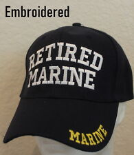 Embroidered Retired Marine Hat Black Adjustable Mens Cap Ballcap Great Gift