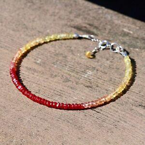Natural Orange Yellow Sapphire Ruby Bracelet Solid 14K White Gold 40th Anniversa