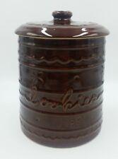 Vintage 1950's MARCREST Brown Drip Style Stoneware DAISY DOT COOKIE JAR