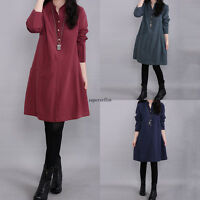 Vintage Women Cotton Linen Long Sleeve Loose Slim Casual Maxi Tunic Shirt Dress