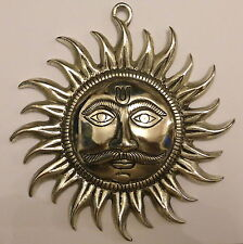 **Beautiful** Silver Coloured Metal Indian Sun God Wall Plaque Mask 18.5cm