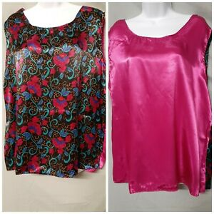 """Ventura Pink Black  Camisole Top Floral Sleeveless  Size 1X  46"""" BUST"""