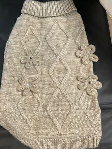 Gray flowered Dog sweater
